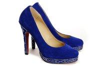 2014 direct selling hot sale closed toe fur drop shipping women's blue suede czdiamond high heel shoes , 12cm pumps, wholesale