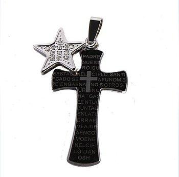Men Black Silvery Star Cross Necklace Pendant 22F063