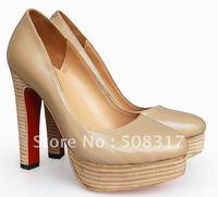 Free shipping Beige Genuine Leather Bianca Pumps Platform Women's High Heels Shoes @189