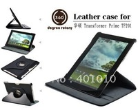 Black  Eee Pad Transformer 2 Prime TF201 360 degree rotary Leather Cover Case 639