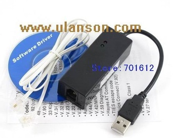 10pcs/lot USB 2.0 Fax Modem with External 56K V.92/ V.90 for 2000/XP/Vista/Linux/Windows7 + Free shipping   ULS-UM01