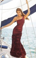Beautiful one shoulder wine red mermaid prom dresses fashion 2012