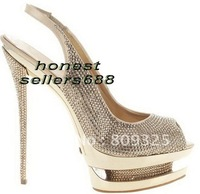 Gold with diamond double sole peep-toe shoes,slingback women's party shoes,Wedding shoes+GIFT