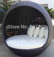 2012 Hot sale SG-12025C Elegant black rattan deck chair furniture