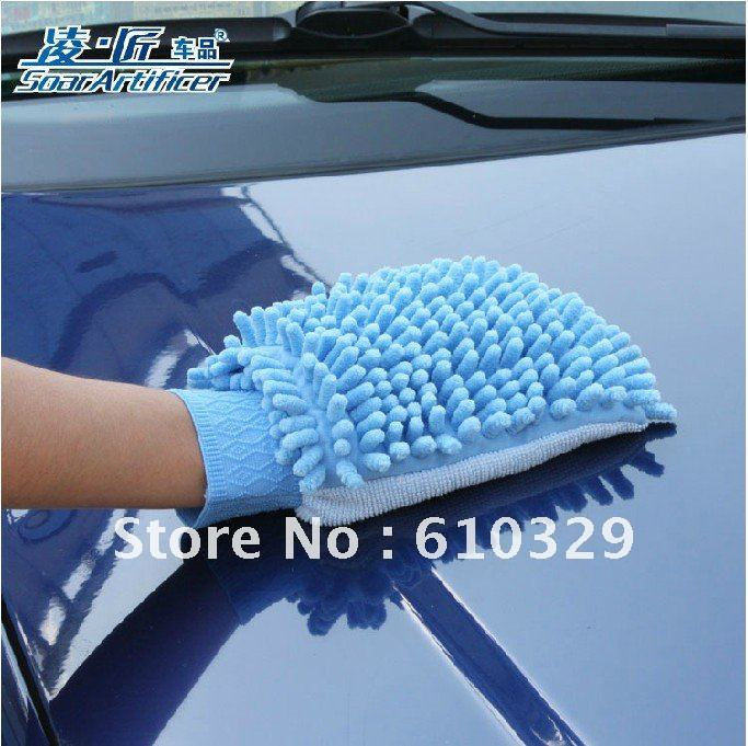 Free shipping wholesales 15pcs/lot Double sidede cleaning Car Wash Gloves Microfiber Chenille cleaning cloth Wipe dust gloves(China (Mainland))