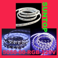 SMD5050,LED60,220V LED RGB strip,5m per set