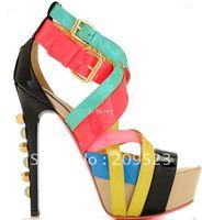 Spell color rivets waterproof platform shoes,Pumps sandals Fashion shoes