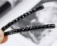 Free shipping,  wholesale black crystal rhinestones square bling  bling hair barrettes / hairwear /Fashion hair jewelry