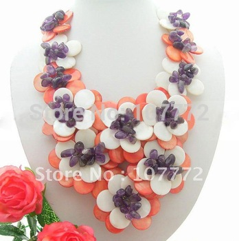 Orange&White Shell Flower&Amethyst Necklace  free +shippment