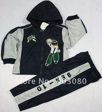 wholesale-boy's 2 suit &cap Sportswear,kid dust coat,boy coat,baby BEN-10 Role play,Free shipping(China (Mainland))