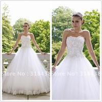 Free shipping WR-16 Elegant A-line Strapless Sleeveless Beading Tulle Write/Ivory Wedding Dress Custom-made