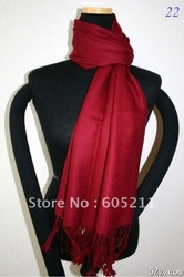 HOT SELL Fashion Women's Silk Pashmina solid color smoothness Shawl/Scarf Wrap Burgundy(China (Mainland))