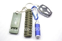 Free shipping 100PCS/LOT Survival Key Chains for emergency Climbing Hiking Camping 5 inches/12.5cm