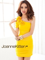 2012 new fashion one-shoulder dress straight  dress free shipping