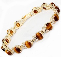 Wholesale 2pcs Free shipping< Wholesale Jewellery 7.5-inch Tiger Eye Bracelet 6 * 8MM