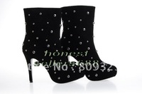 New style women's shoes brand new black suede studs shoes Women's ankle boots free shipping
