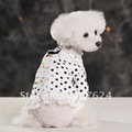 Free shipping by EMS,dot printing dog clothes for summer,pet dog clothes with lace edge,50pcs/lot