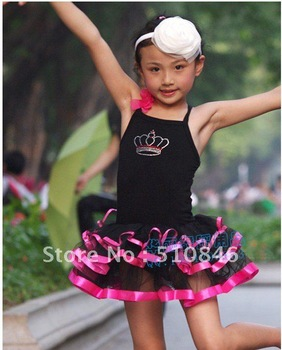 Free Shipping!Halloween Kitty Cat Girls Kids Party Costume Ballet Leotard Tutu Dress/tutus/tutu dress  SZ 6-7Y