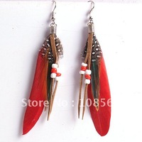 G420 Vintage Luxury Feather Dangle Peacock Earrings free shipping Fashion jewelry 18 pairs in 1 lot
