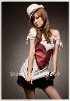 Free shipping Korea White Womens Sexy Love Off Shoulder Top T-shirt#5103