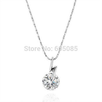 18KGP N199 18K White Gold Plated Pendant Necklace Health Jewelry Nickel Free Rhinestone Austrian Crystal  Element
