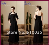 Generous Brown Chiffon Strapless A-line Floor-length Pleated Womens Evening Dress Mother Of the Bride Dresses Free Shawl