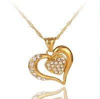 Hot Jewelry Fashion Stereo Full Rhinestone Lovely Heart Pendant Necklace 22C105