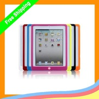 Wholesale 50pcs/lot for ipad 3 Colorful Button Silicone Case ,new silicone colorful case for ipad 3+ DHL freeshipping