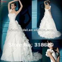 2012 Sweetheart One Shoulder Ruffle Skirt Organza Bridal Wedding Dress