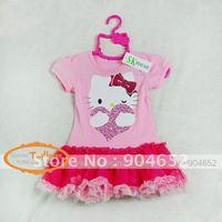 Платье для девочек 2012 brand new design children girl's classic long sleeve knee length stripe fashion Hello Kitty dress xs-xl
