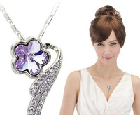 Free shipping !! Retro plum flower crystal necklace  . Fashion sweater chain.36pcs/lot.