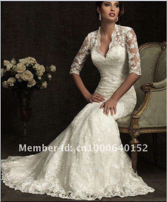 wholesale long sleeve lace wedding dresses