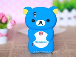 2012 Hot Selling Cute Soft Silicone Skin Case Cover 3D Rilak kuma Bear For LG P970 Optimus Black ,free shipping 1pcs min order(China (Mainland))