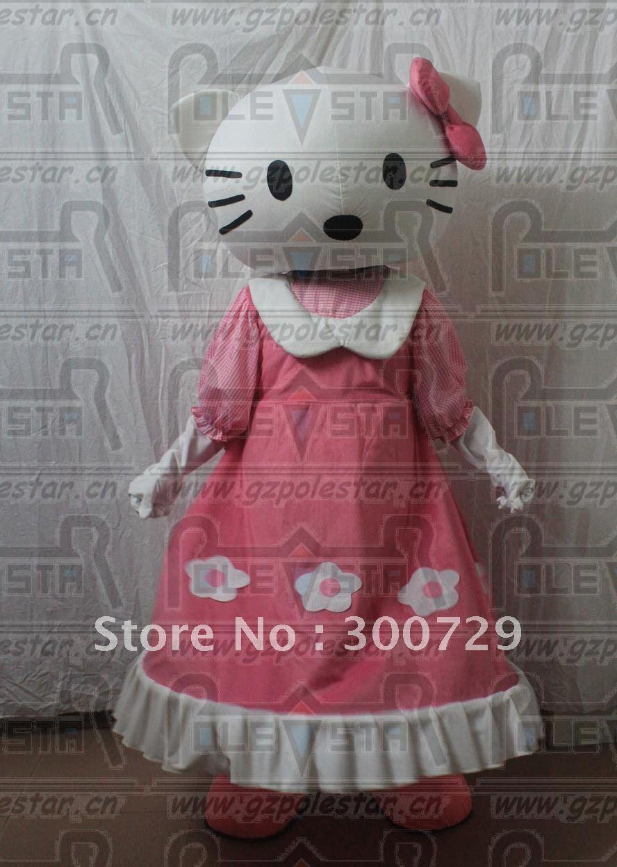 character pink dress hello kitty mascot costumes(China (Mainland))