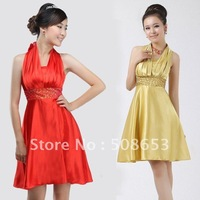 Halter Knee-length and Full-length Ball gown bead Strapless dress Evening dresses party dresses Prom Dresses GR249 free shipping