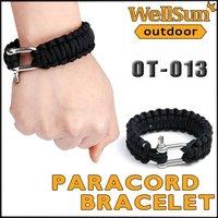 MOQ: 2pcs  5 Colors Paracord Cord Survival Bracelet w/ Stainless Steel U Shackle Military Rescue Quick Release Bracelet  #OT-013