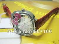 Gaga Deal Free Shipping Cute Hello Kitty Quartz Watch with bowknot 6 Different colors are Available KT10216