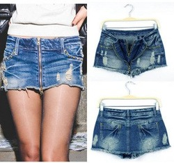 Free Shipping New Arrival Low Waist Distressed Zipper Denim Jeans Pants Skirt, Hot Pants, Summer Pants, Mini Skirts, AD9499SK(China (Mainland))