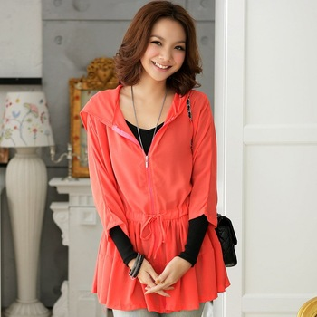 2012 NEW, unique fashion korea style fresh color half sleeve hooded long ladies tops t shirt