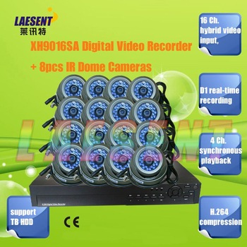 16Ch  DVR Digital Video Recorder CIF real-time recording CIF H.264 compression with 16pcs Dome IR Camera Free Shipping