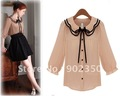 2012 new free shipping women&#39;s blouses south korean slim shirts lotus leaf gets bowknot chiffon blouses pink/white S-M  K05W107
