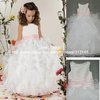 Real Sample E112 Beautiful Ruffled Organza Ball Gown Pink and White Flower Girl Dress