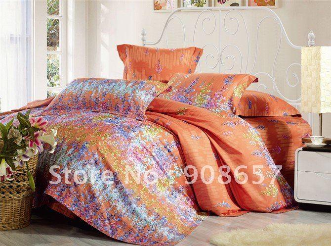 Lavender quilt set reviews online shopping lavender - Orange and purple bedding ...
