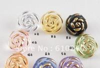 50pcs/lot (wh-042) transparent crystal roses, gilt buttons 13mm