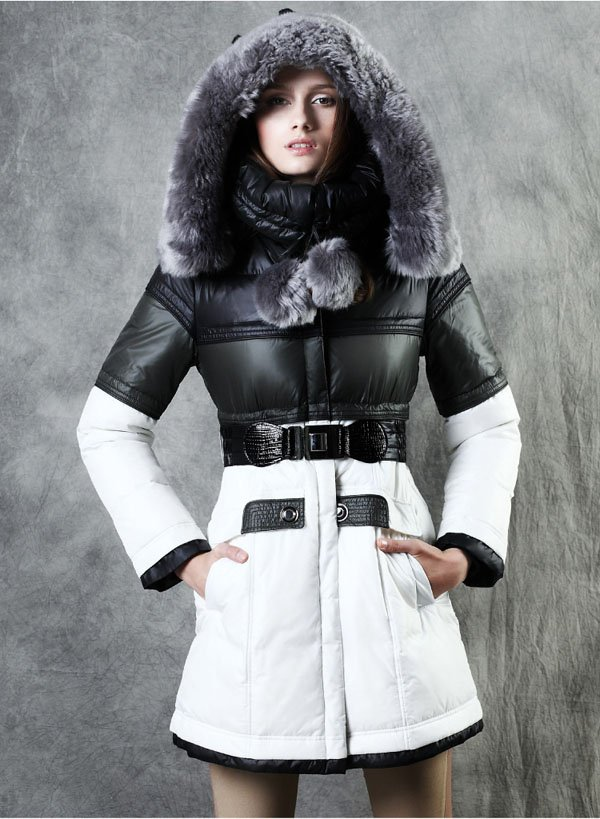 Women Detachable Real Fur White Duck Down Coat With BeltPalace