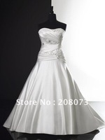 Strapless Beaded Ruched Satin A-Line Floor-length 2012 Bridal Gown K4143 Wedding Dress
