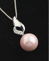 925 silver necklace wholesale high temperament fashion elegant woman pink pearl pendants D8572
