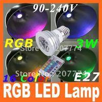16 Colors changing RGB LED Lamp 3W E27 90-240V white light bulb RGB LED Bulb Lamp Spot Light with Remote Control free shipping