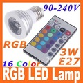 LED Bulb Light IR Remote Control AC 90~240V E27 3W 16 colors Changing RGB LED Lamp free shipping