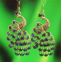 R12312-00 free shipping 12pairs/lot mixed beautiful phoenix diamond drop earring plated antique silver earring eardrop jewelry
